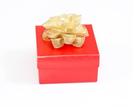 red gift box: Red christmas gift box on white background