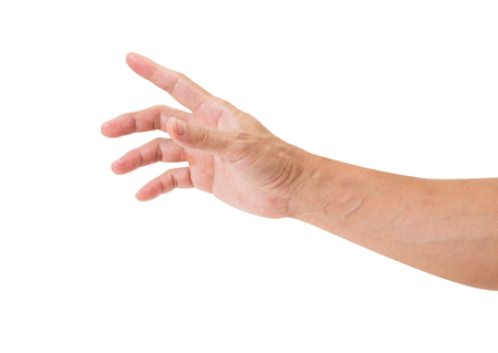Man hand isolated on white background, clipping path Stock Photo
