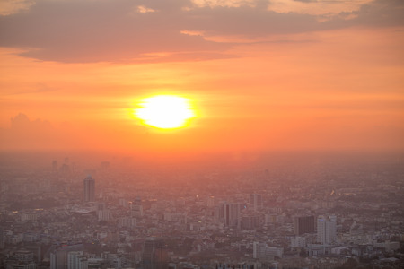 willis: Beautiful sunset over Bangkok downtown Stock Photo