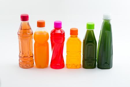 Bottles of Fruit Juices Stock Photo