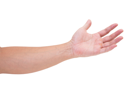 limosna: Man hand isolated on white background, clipping path Foto de archivo