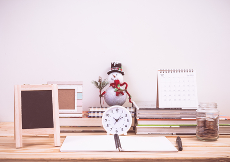 Work table with christmas decoration Stock Photo