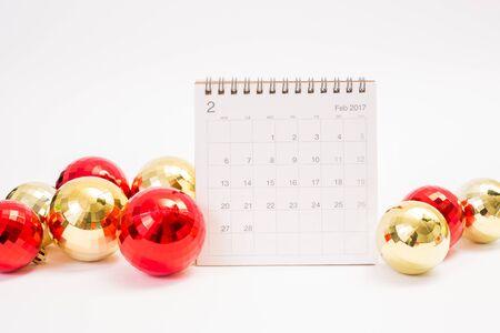 2017 febuary calendar with christmas ball on white background Stock Photo
