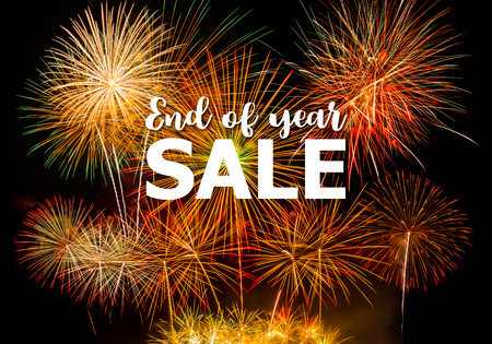 End of year 2017 sale on Colorful fireworks background