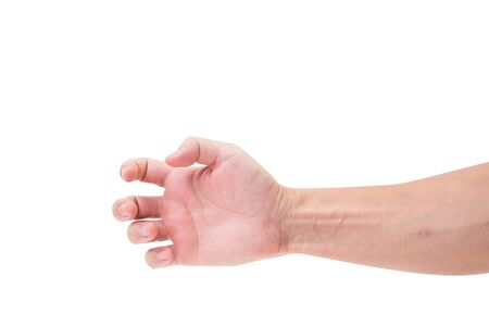 clawing: Hand bent isolated on white background. clipping path