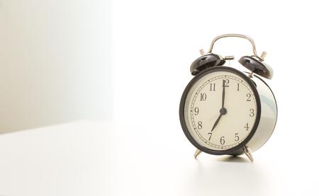 seven o'clock: Vintage clock at seven oclock