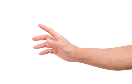 Man hand grabbing isolated on white background; clipping path 스톡 콘텐츠