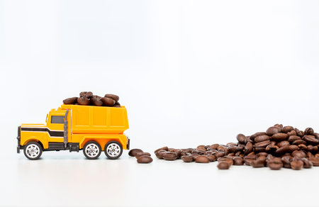 Model of industrial vehicles working with coffee beans