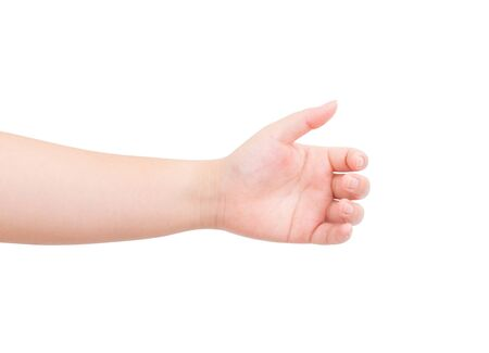 Women hand isolated on white background. clipping path