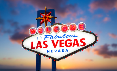 Welcome to fabulous Las vegas Nevada sign with sunset background