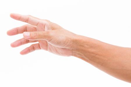 남자 손 잡아에 고립 된 흰색 배경