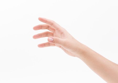 Man hand isolated on white background, clipping path Foto de archivo