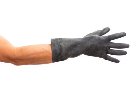 Mannhand mit schwarzem Gummihandschuh. isoliert auf weißem Hintergrund
