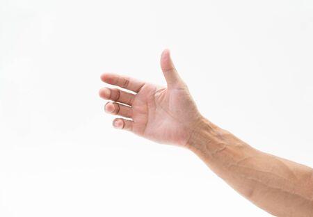 Bras de la main de l'homme sur fond blanc