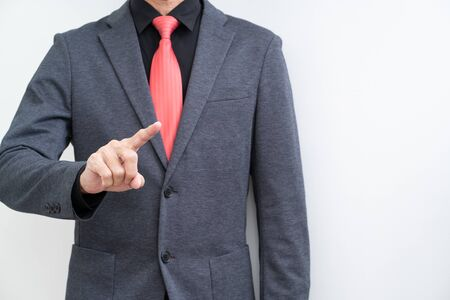 Unrecognize businessman with hand pointing