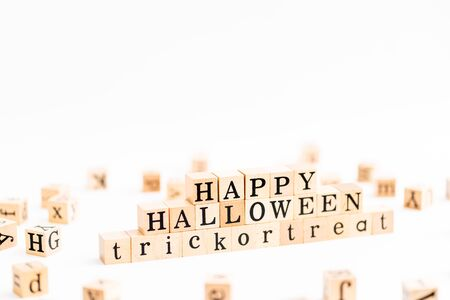 Wood block letter Happy Halloween day