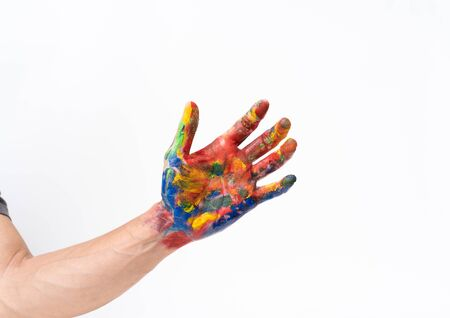 Man hand in colorful on white background