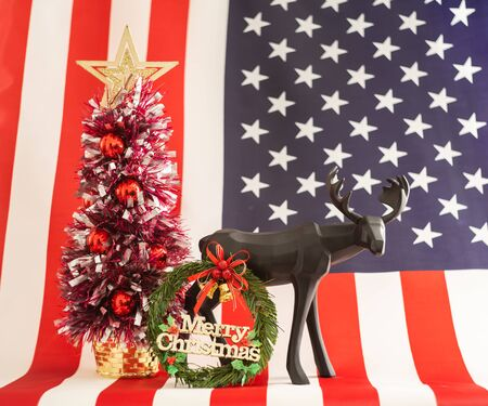 Christmas decoration with United states of America flag on background