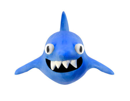 plasticine: smiling clay shark isolated with clipping path Stock Photo