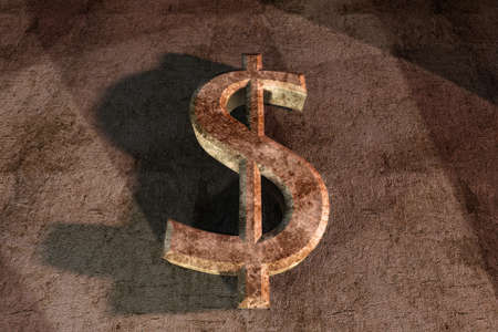 blasted: rusty dollar sign 3d on grunge background