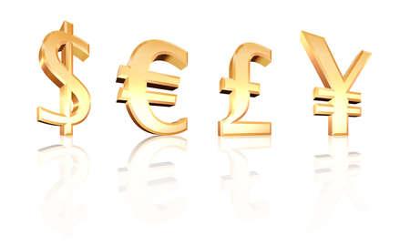 quid: dollar euro pound yen signs 3d on white Stock Photo