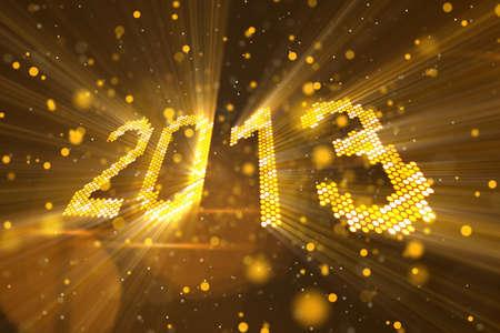 輝く黄色要素コンピューター生成の挨拶新しい年 2013