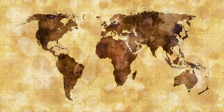 old world map: grunge stained map of the world on old paper