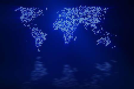 digitale blauwe wereld kaart