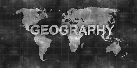 antique map: world map geography draw on chalkboard Stock Photo