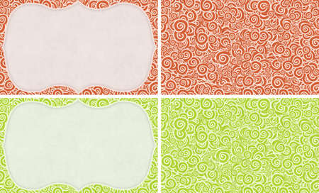 set of red and green seamless curly ornamets and frames Stock Photo