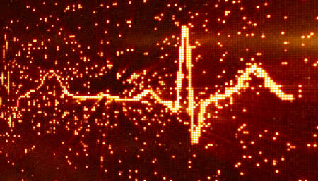 digital pixel EKG electrocardiogram orange background photo