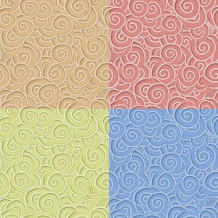 カーリーのシームレスなパターンの色セット