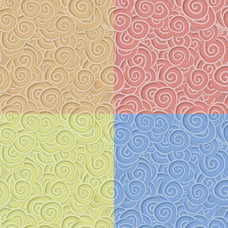 color set of curly seamless patterns