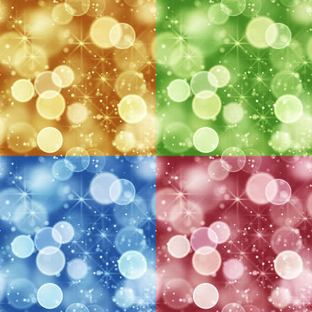 colorful set of seamless backgrounds bokeh lights Stock Photo