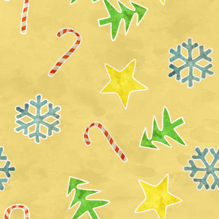 seamless pattern christmas symbols on old yellow paper photo