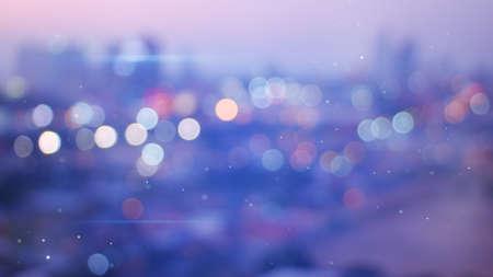 夕方の都市の多重ライト