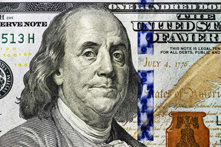 the franklin: portrait of Benjamin Franklin 100 dollars close-up