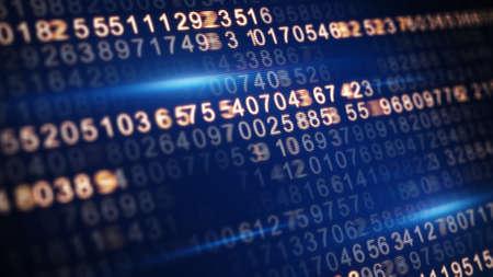 Computer Code: digital code on screen selective focus