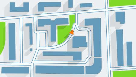 gps navigator: street map GPS navigator long shadows Stock Photo