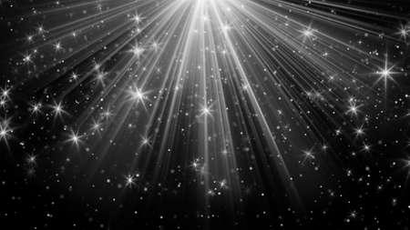 lichtstralen en sterren op zwart. computer gegenereerde abstracte achtergrond