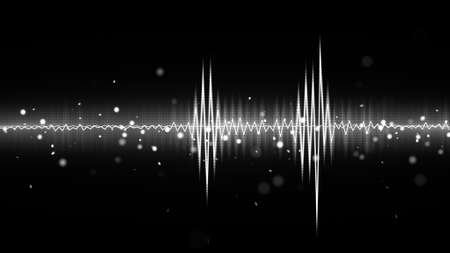audio waveform black and white equalizer. Computer generated abstract background Stok Fotoğraf