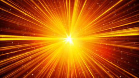 the light rays: yellow shining light rays and stars. computer generated abstract background Stock Photo