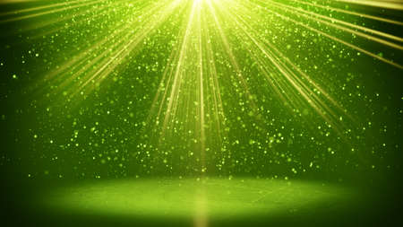 light beams: green light beams and particles. computer generated abstract background