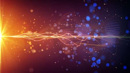 光のストライプと粒子。コンピューター生成された抽象的な背景