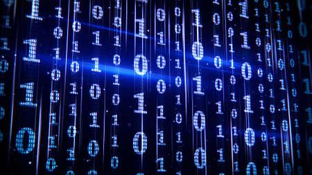 blauwe binaire code rijen