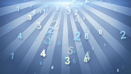 numbers falling in circular rays Stock Photo