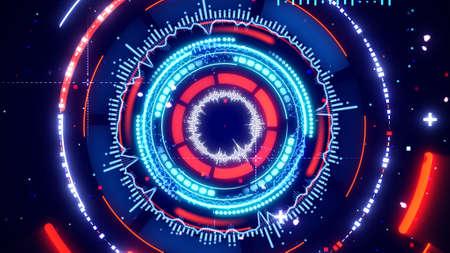 analyzer: circular spectrum analyzer abstract futuristic illustration