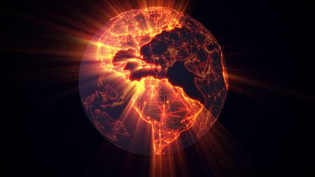 glowing earth: glowing earth worldwide web concept