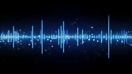 青いオーディオ波形イコライザー。コンピューター生成された抽象的な背景