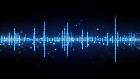 audio waveform blue equalizer. Computer generated abstract background 스톡 콘텐츠